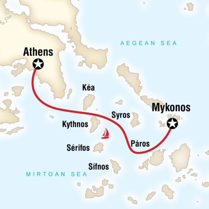 Sailing Greece Mykonos To Athens In Greece Europe G
