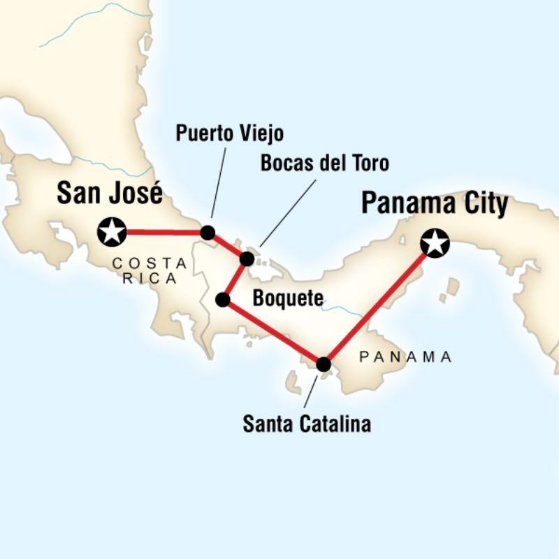 Karte der Route für