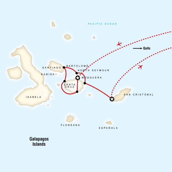 Abenteuerreise Route Family Galápagos - Central Islands