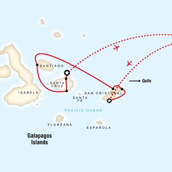 Abenteuerreise Route Galápagos Land & Sea — Central & East aboard the Xavier III