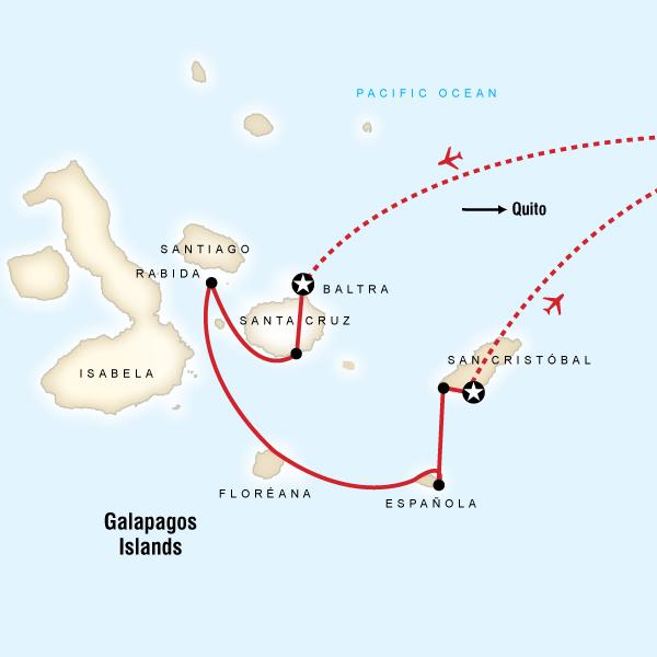Abenteuerreise Route Galápagos — South Islands aboard the Xavier III