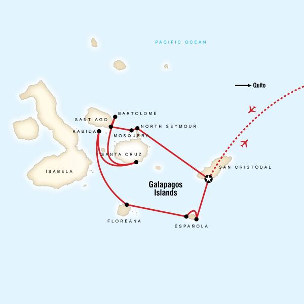 Abenteuerreise Route Galápagos — South & Central Islands aboard the Xavier III