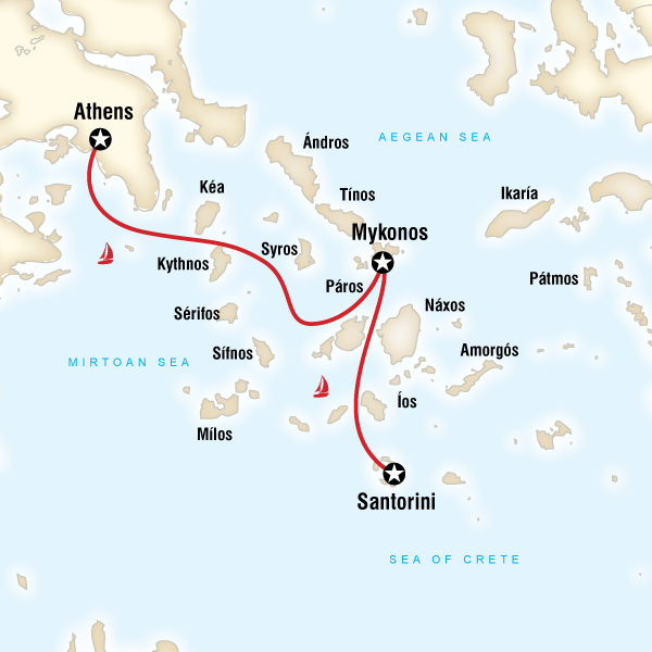 Abenteuerreise Route Sailing Greece - Athens to Santorini