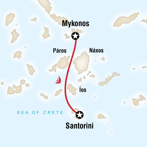 Abenteuerreise Route Sailing Greece - Santorini to Mykonos