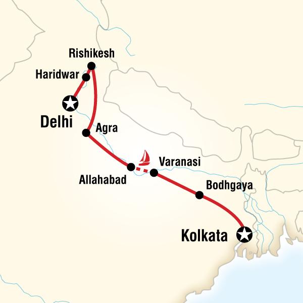 Abenteuerreise Route Down the Ganges
