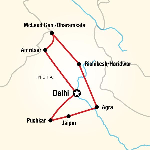 Abenteuerreise Route Spiritual India