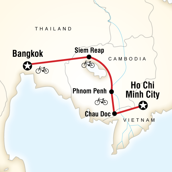 Abenteuerreise Route Indochina Cycle