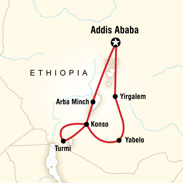 Abenteuerreise Route Ethiopia Discovery