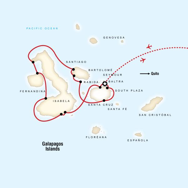 Abenteuerreise Route Galápagos — West Islands aboard the San Jose
