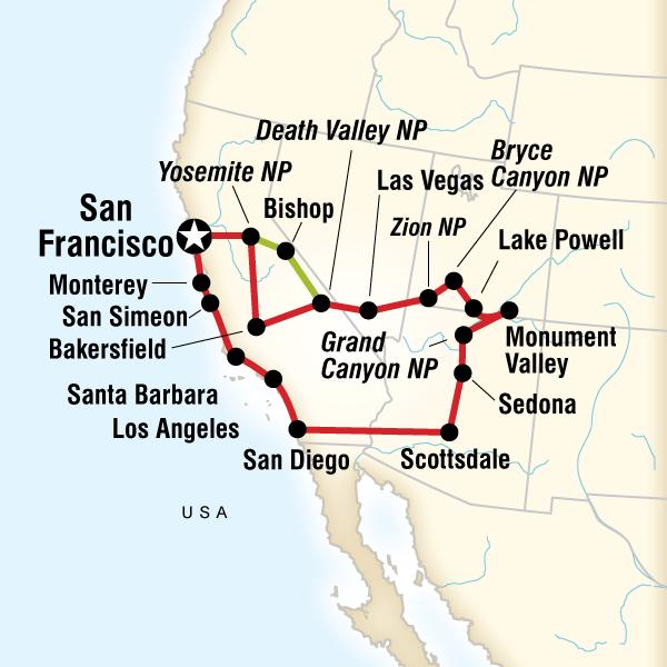 Abenteuerreise Route Southwest Highlights