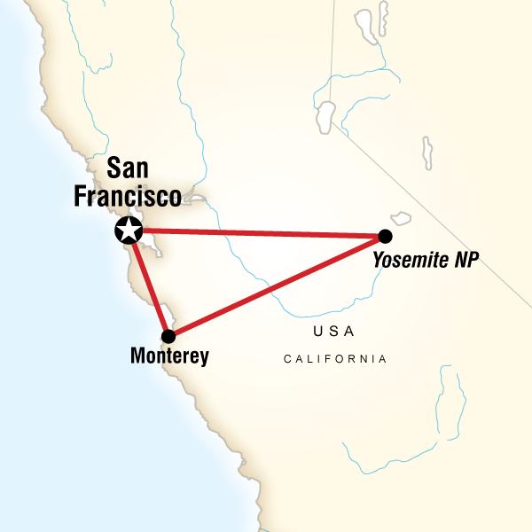 Abenteuerreise Route Yosemite & Monterey Active Escape