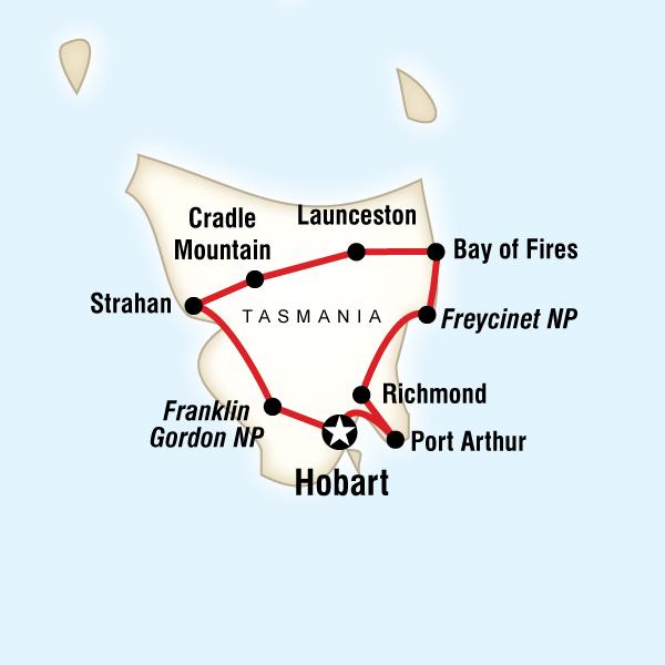 Abenteuerreise Route Best of Tasmania