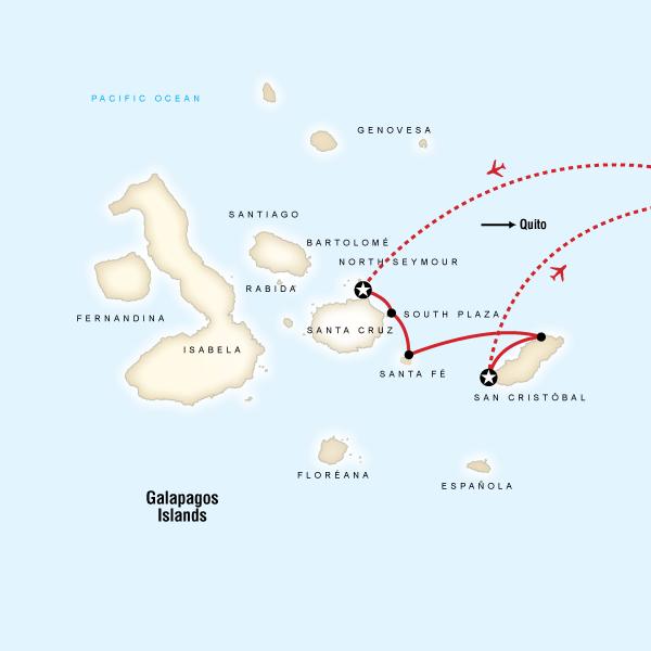 Abenteuerreise Route Galápagos — Central & East Islands aboard the Monserrat