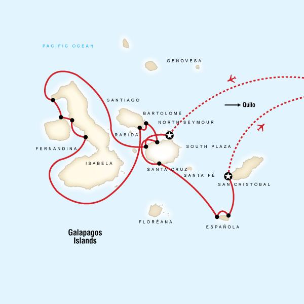 Abenteuerreise Route Galápagos — West & Central Islands aboard the Evolution