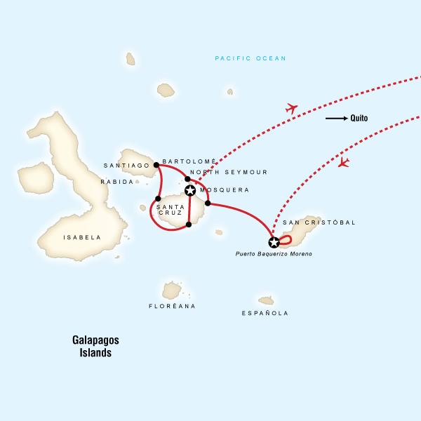 Abenteuerreise Route Galápagos Land & Sea — Central Islands aboard the Queen