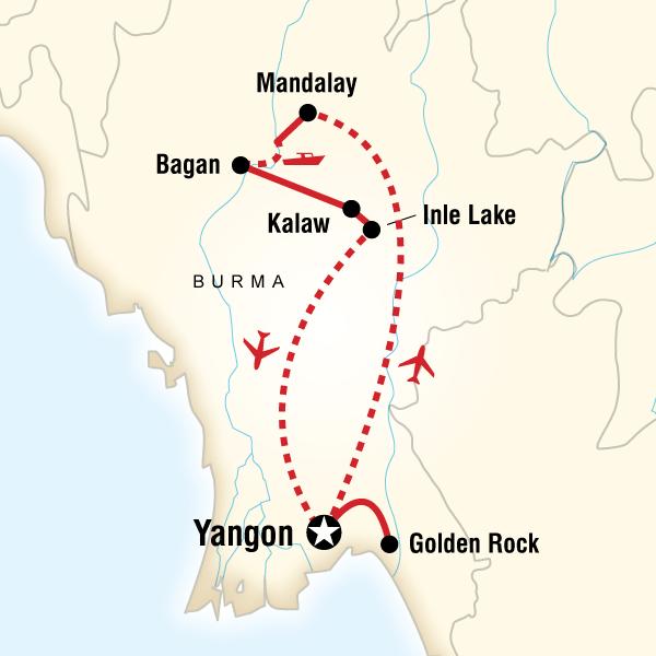 Abenteuerreise Route Classic Burma Adventure