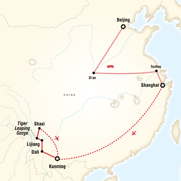 Abenteuerreise Route Classic China & Yunnan Express
