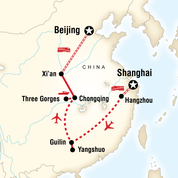 Abenteuerreise Route Highlights of China