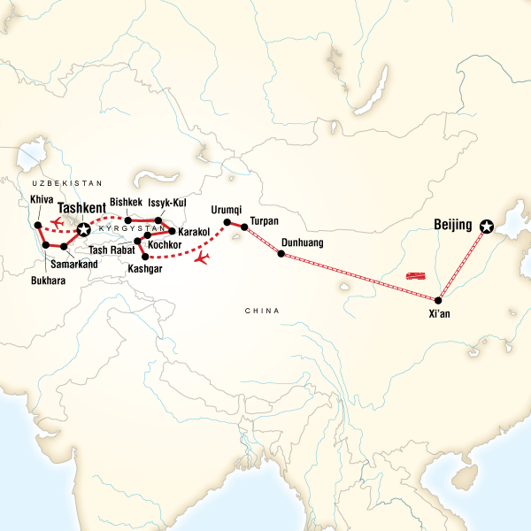 Abenteuerreise Route Central Asia on the Silk Road