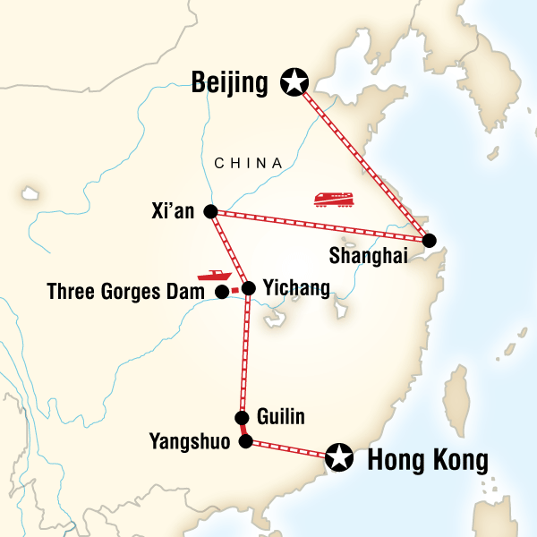 Abenteuerreise Route China on a Shoestring–Hong Kong to Beijing