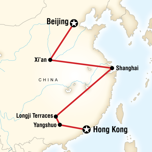 Abenteuerreise Route Budget China–Beijing to Hong Kong