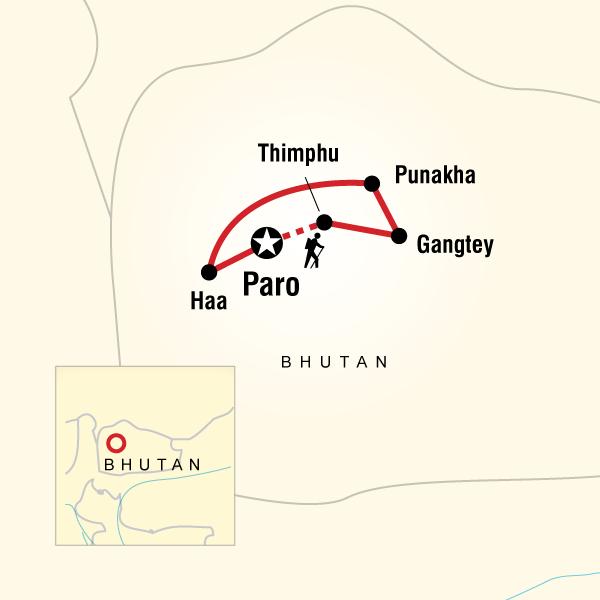 Abenteuerreise Route Bhutan Adventure