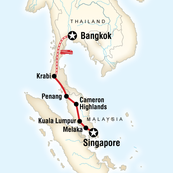 Abenteuerreise Route Colours of Asia – Singapore to Bangkok