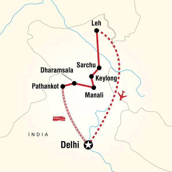 Abenteuerreise Route Highlights of Ladakh