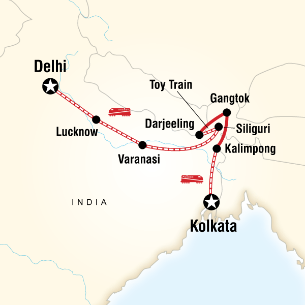 Abenteuerreise Route Northeast India & Darjeeling by Rail