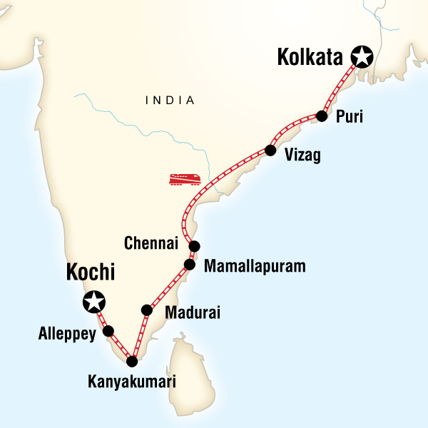 Abenteuerreise Route Southern India & East Coast by Rail