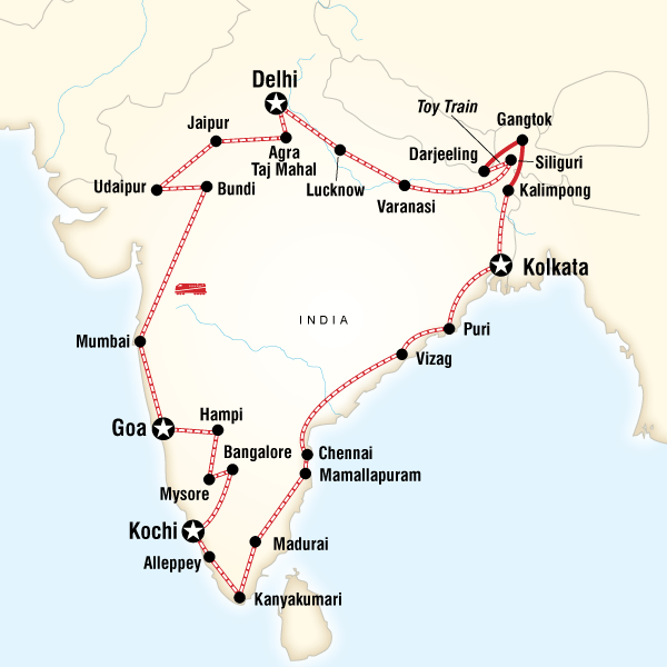 Abenteuerreise Route Ultimate India by Rail