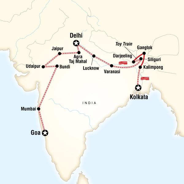 Abenteuerreise Route Kolkata to Goa by Rail