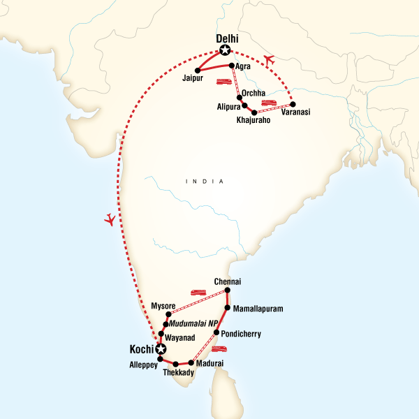 Abenteuerreise Route India Encompassed