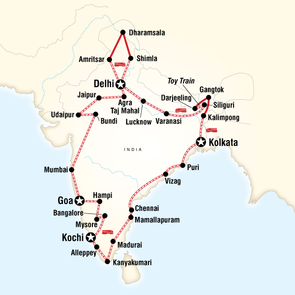 Abenteuerreise Route Indian Odyssey by Rail