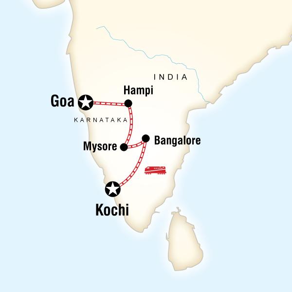 Abenteuerreise Route Southern India & Karnataka by Rail