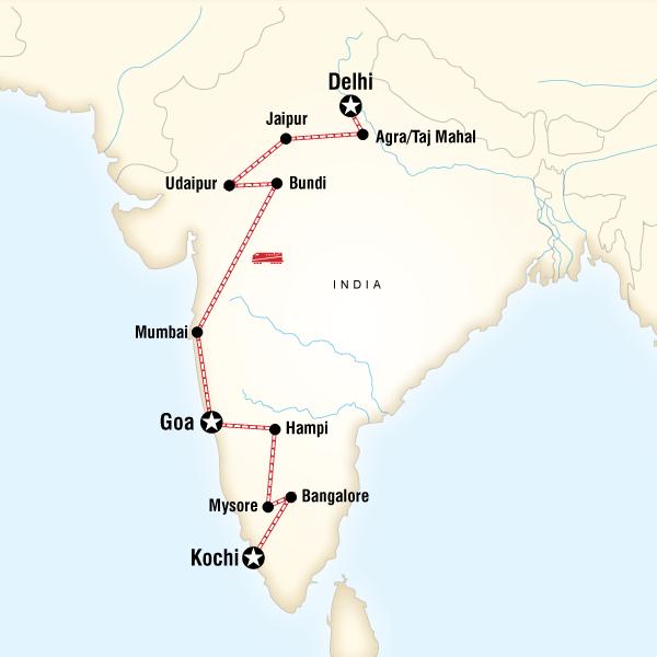 Abenteuerreise Route Delhi to Kochi by Rail