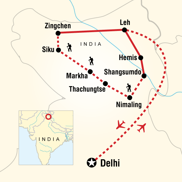 Abenteuerreise Route Trekking in Ladakh