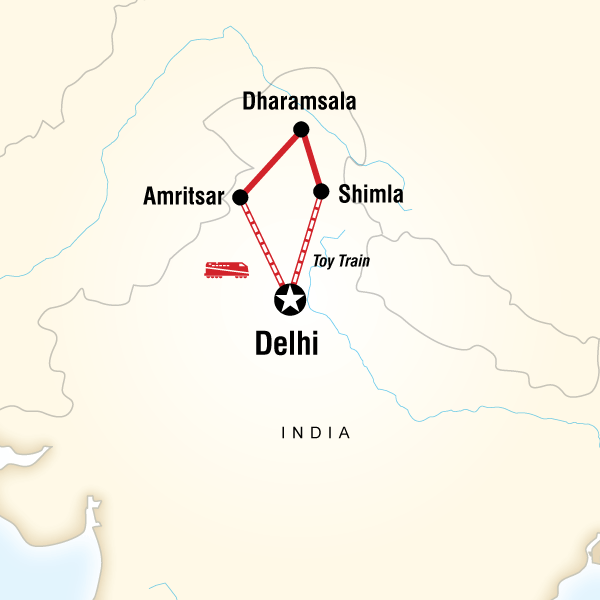 Abenteuerreise Route Northern India by Rail