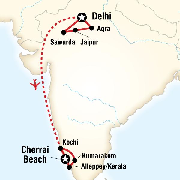 Abenteuerreise Route Highlights of India