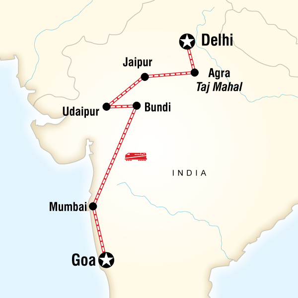 Abenteuerreise Route West Coast India & Rajasthan by Rail