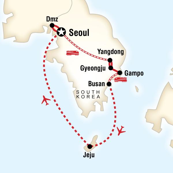 Abenteuerreise Route Best of South Korea