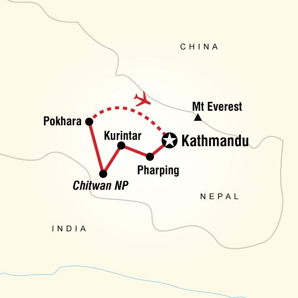 Abenteuerreise Route Treasures of Nepal