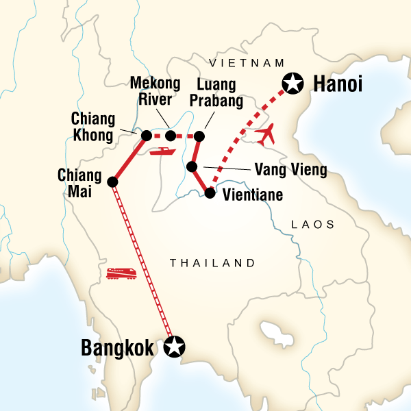 Abenteuerreise Route Thailand and Laos Adventure
