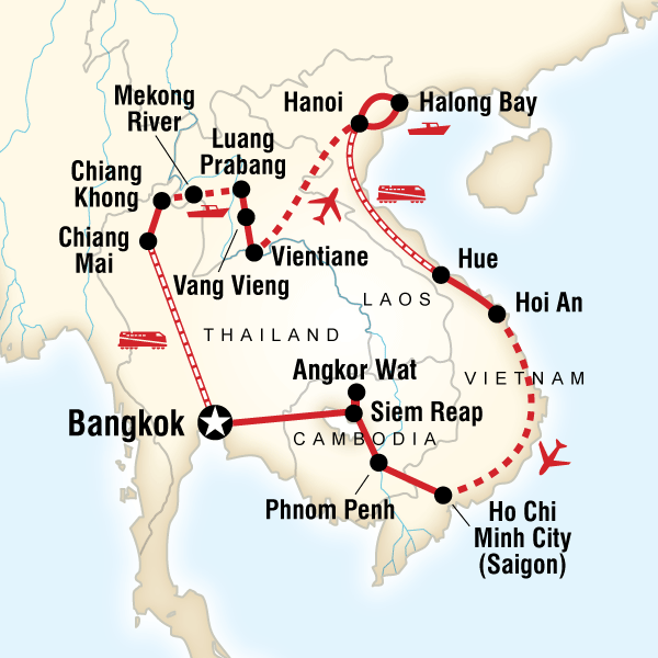 Abenteuerreise Route Indochina Encompassed