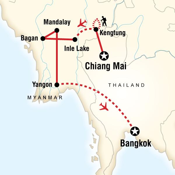 Abenteuerreise Route Burma on a Shoestring
