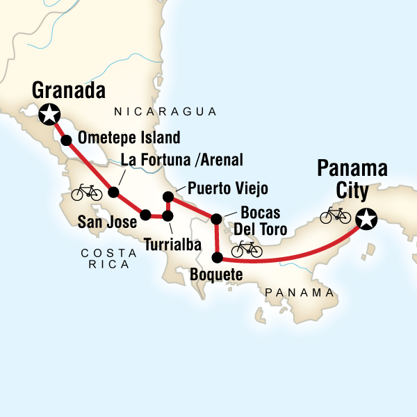 Abenteuerreise Route Cycle Central America