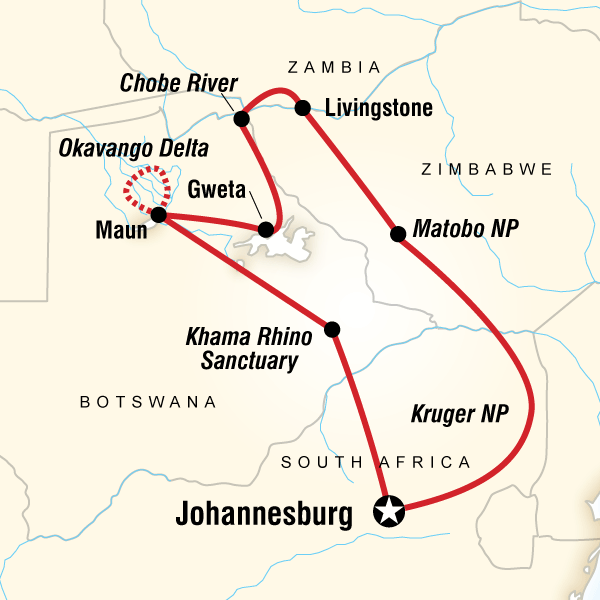 Abenteuerreise Route Southern Africa Encompassed