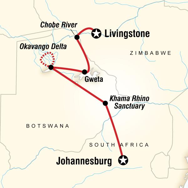 Abenteuerreise Route Botswana and Falls Adventure