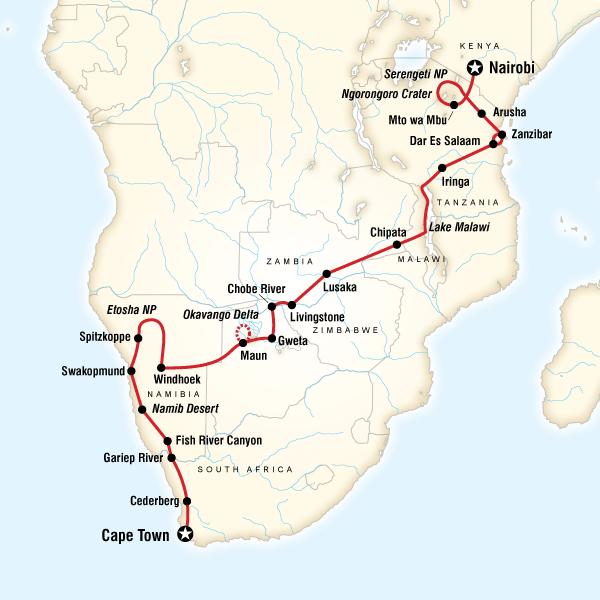 Abenteuerreise Route Cape Town to the Serengeti
