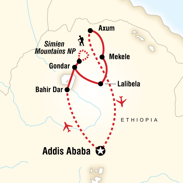 Abenteuerreise Route Highlights of Ethiopia